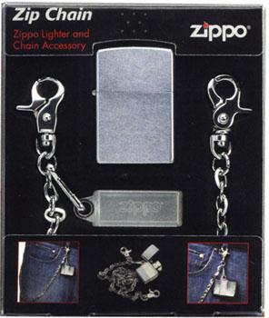 ファッション性のあるチェーンとZIPPOライターのセット