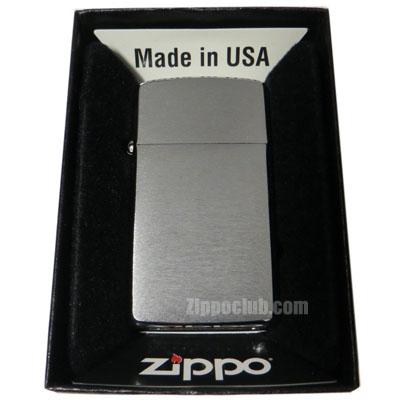 スリム・ブラッシュド・クロム・ジッポー Slim Brushed Chrome Zippo