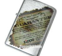 永久無償修理の保証書をプリントしたZIPPO