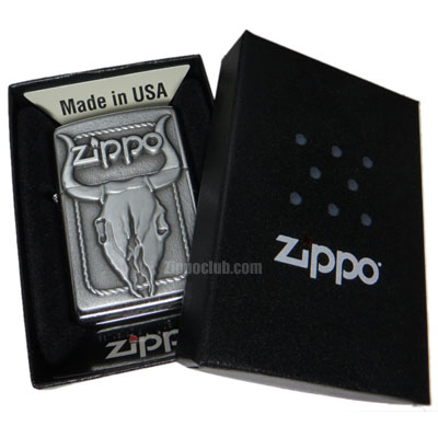 ブル・スカル・ジッポーライター Bull Skull Emblem Zippo