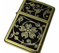ゴールド・フローラル・フラッシエンブレム - Zippo Gold Floral Flush Emblem