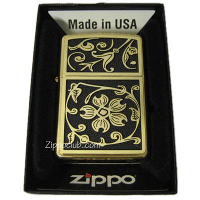 Zippo Gold Floral Flush Emblem