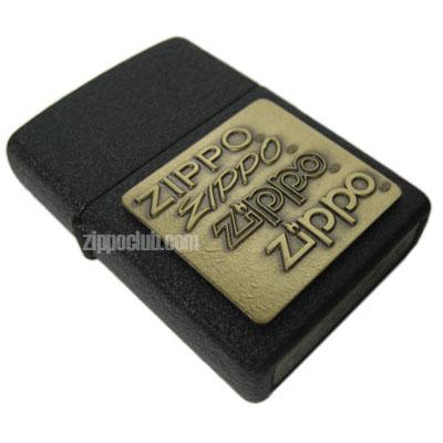 ブラック・クラッケル・ウィズ・ブラス・エンブレム・ジッポー Black Crackle w/Brass Emblem