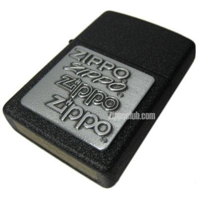 ブラック・クラッケル・ウィズ・ピューターエンブレム Zippo Black Crackle w/Pewter Emblem